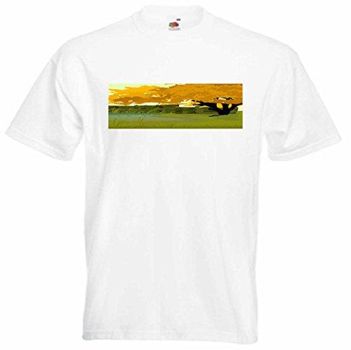 T-Shirt D693 T-Shirt Herren schwarz mit farbigem Brustaufdruck - Design Tribal Comic / schönes Motiv Landschaft Bäume und Wiese am See Mehrfarbig