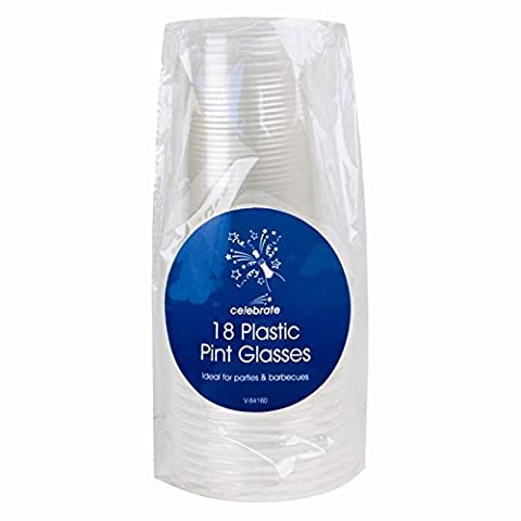 2 lot de 18 verres à pinte en plastique 36 verres