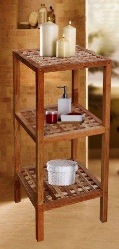Spetebo - Elegante tavolino a più ripiani, in legno di noce, 3 ripiani, dimensioni 79 x 36 x 36 cm