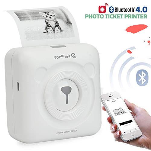 【Bluetooth 4.0 Mini-imprimante Photo】 Édition limitée de Noël Imprimante sans Fil instantanée Portable avec des papiers d'impression pour/Android/iOS Téléphone Portable (Blanc)