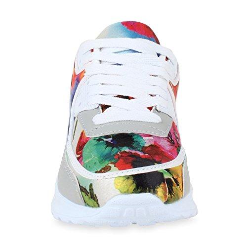 Sneakers Runners Unisex Weiss Laufschuhe Trendfarben Herren Flower Damen Sportschuhe FtI5wxgcwq