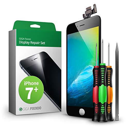 GIGA Fixxoo Display Set kompatibel mit iPhone 7 Plus, Reparaturset Komplett Schwarz, Ersatz Bildschirm, Retina LCD Glas mit Touchscreen, inkl. integrierte Frontkamera & Werkzeug -