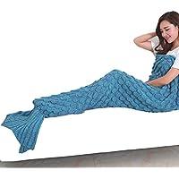 Coperte Mermaid Tail per adulti, morbido e tiro coperta calda lavorata a maglia Crochet delle scale di pesci del modello sacco a pelo in divano letto in camera o in campeggio, Dimensioni 190 centimetri per 90 centimetri(lake
