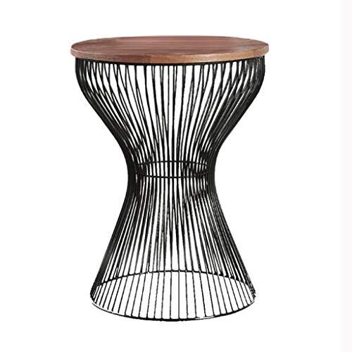 Lyn tavolini da divano, tavolino realizzato in metallo con piatto da tavolo in legno, tavolo decorativo con struttura in metallo curvato, legno/metallo