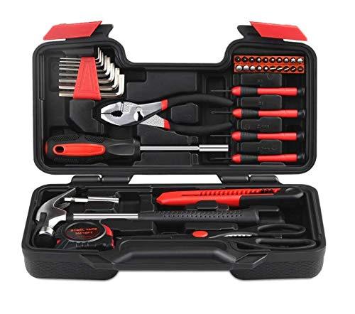 Werkzeugkiste 39-teiliges Werkzeugset DIY Handwerkzeuge Haushalt Werkzeugset für Zuhause, Zimmerei und Holzbearbeitung mit Schraubendreher Set im Koffer für Damen oder Herren -