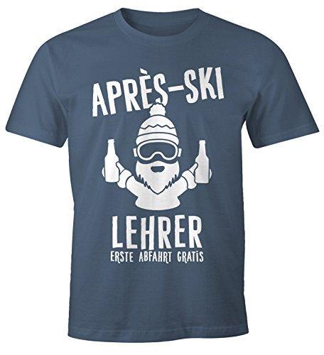 Après Ski Herren T-Shirt Lehrer Fun-Shirt Moonworks® denim L (Denim Lehrer)