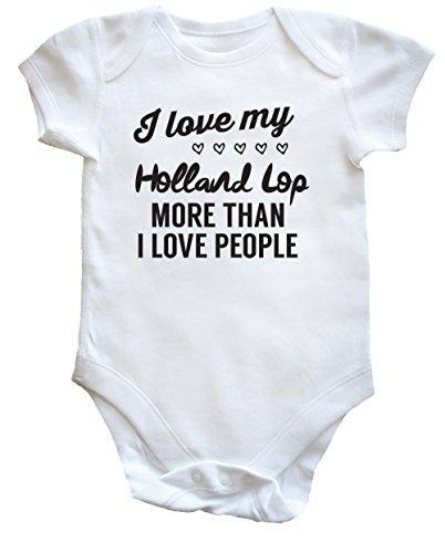 Hippowarehouse I Love My Holland lop Rabbit More Than I Love People Baby Vest Bodysuit (Short Sleeve) Boys Girls