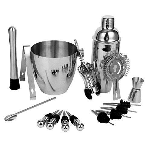 yaetek 16teiliges Edelstahl Wein und Cocktail mischen Bar Set-Bar Kit inkl. Essential-Tools, Ice Bucket, Shaker, Barsieb, Stößel, Messbecher Jigger, Rührwerk Löffel, Pfropfen Barkeeper Kit (Essentials Tool-kit)
