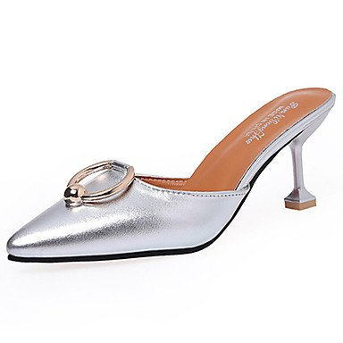 LvYuan Da donna Sandali Comoda Gomma Estate Footing Comoda Basso Nero Argento Marrone scuro Meno di 2,5 cm Silver