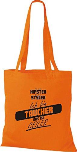 Shirtstown Stoffbeutel du bist hipster du bist styler ich bin Taucher das ist geiler orange