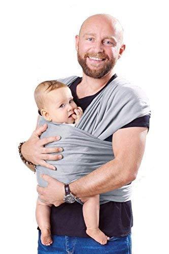 Shabany® Babytragetuch - 100{b605a8b0f98651053e8550e3453051e41d76b5e999983db2badb6e61b0e301e0} Bio Baumwolle - Babybauchtrage für Neugeborene Kleinkinder bis 15 Kg - Gewebt - inkl. Baby Wrap Carrier Anleitung - grau (jumps)