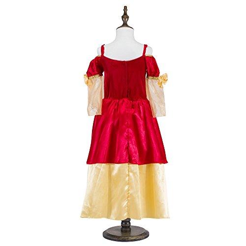 Katara 1763-128/134 – Kinder Mädchen-Kostüm Burgfräulein Kleid – Mittelalter Verkleidung Prinzessin Königin Geschenk zu Karneval, Fasching, Ritterfest – 128/134, Rot-Gold - 4