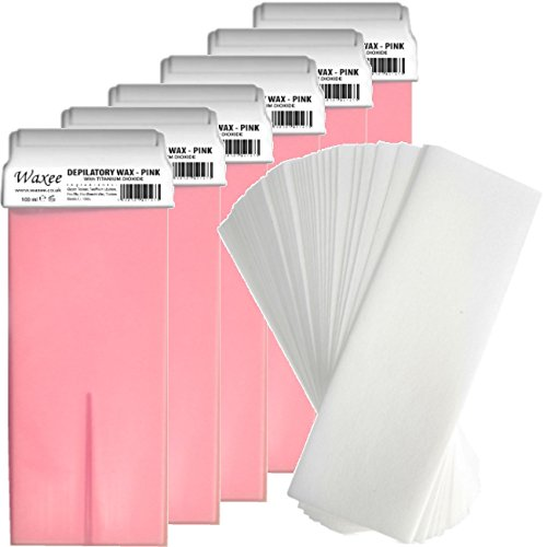 6x-100ml-roller-roll-on-wax-cartridge-100-strips-body-leg-waxing-set-kit-hot-pink-with-titanium-diox