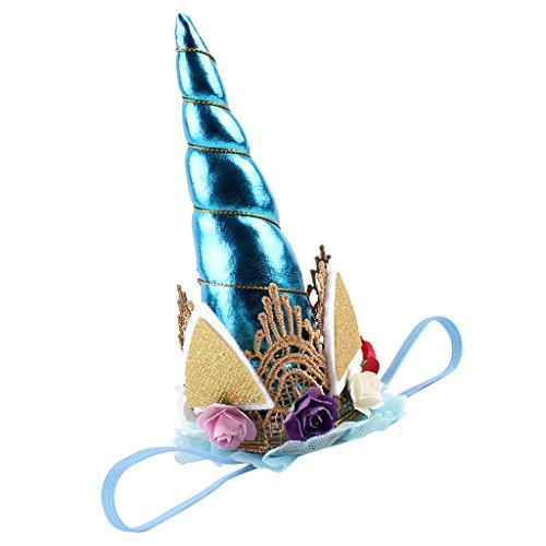 perfk Kinder Mädchen Party Kostüm Einhorn Horn Haarreif Stirnband Haarband Haar Accessoire Zubehör - Blau, wie beschreiben