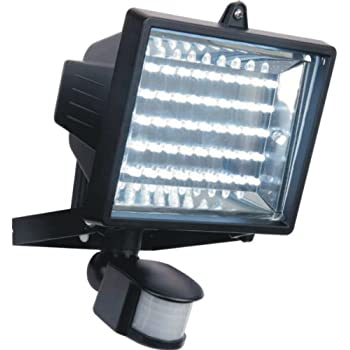 LED Low Energy Flood Light With PIR Sensor, Black Diecast Aluminium Body, IP44 Rated