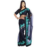 indiano Tradizionale Sari da sposa Bollywood Style Nero Netto Donne Saree con scucito Camicetta
