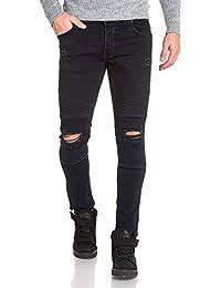 BLZ jeans - Jean homme slim bleu foncé déchiré aux genoux