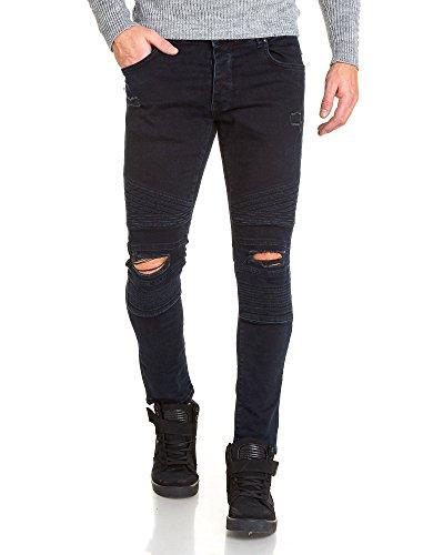 BLZ jeans - Jean homme slim bleu foncé déchiré aux genoux Bleu