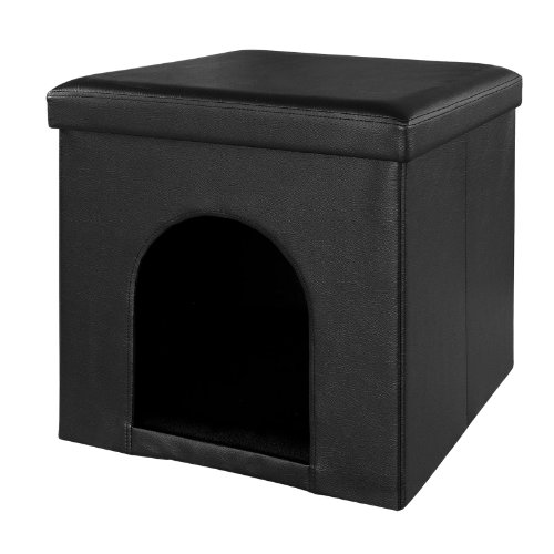 hundeinfo24.de SoBuy® XL 48x48x48cm Pet haus, Sitzhocker, Sitzbox, zusammenfaltbar FSS31-SCH