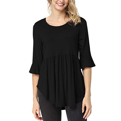 One-shoulder Kimono Top (MRULIC Frau Ärmellos Hemden Bluse Tank Tops T-Shirt Damen Kurzarm Lose Knopfleiste Bluse Einfarbig Rundhals Tunika(X-Schwarz,EU-42/CN-XL))