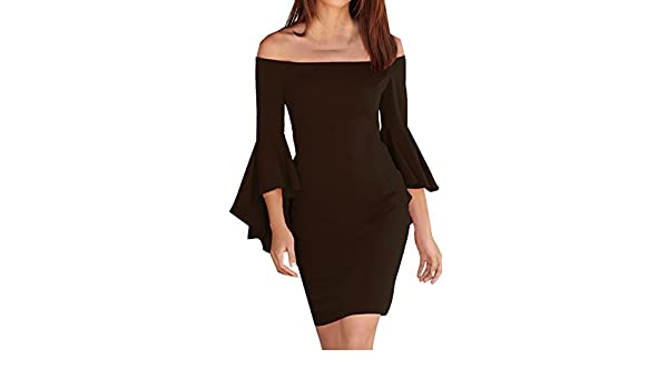 CHDT-Shirt Summer of Holiday Party Cocktail Club Women Sexy Off Shoulder Frill Long Sleeve Mini Dress Solid Color Bodycon Pencil Dresses: Amazon.co.uk: ...
