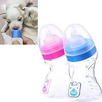 1PET Nibble Milch Feeder Flaschen Krankenpflege Füttern Zubehör mit Bürste für Puppy Dog Kitten Cat 180ml–zufällige Farbe