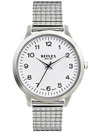 Reflex hommes de cadran rond blanc montre en acier inoxydable avec bracelet extensible Argent refx0002