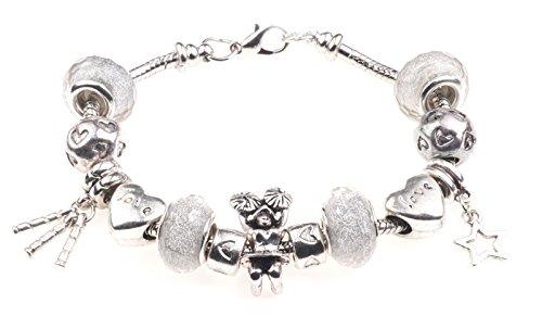 CHEERLEADER Themed Charm Armband mit Geschenk-Box Damen Schmuck