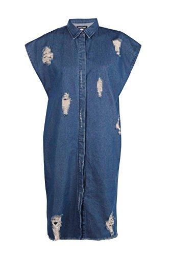 Damen Blau Heidi Übergroßes, Kurzärmeliges Hemdkleid Aus Denim Blau