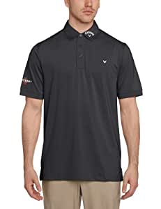 Callaway Men's Solid Interlock Short Sleeve Polo Shirt - Caviar, X-Large by Callaway