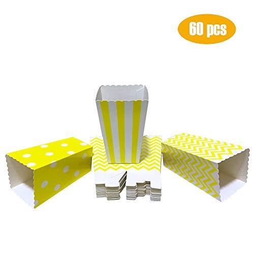 Winiron 60Stk Popcorn Tüten Candy Container Popcorn Box Partytüten für Popcorn Salzstangen und Candybar (gelb)
