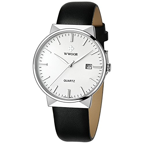 WWOOR Herren Sport Quartz Armbanduhr Männlich Leder Gürtel Edelstahl Uhr mit Datum Weiß