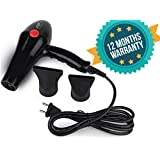 CETC Hair Dryer (With 1 Year Warranty) 2000 Watt Professional Hair Dryer With Cool & Hot Air (Black)