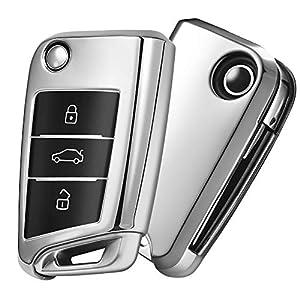 Autoschlüssel Hülle VW,VW Golf 7 Schlüsselbox,Schlüsselhülle Cover für vw Polo Skoda Seat 3-Tasten (Silber)[Verpackung:MEHRWEG]