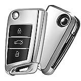 Autoschlüssel Hülle VW,VW Golf 7 Schlüsselbox,Schlüsselhülle Cover für vw Polo Skoda Seat 3-Tasten (Silber)