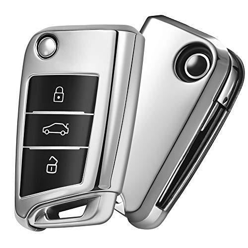 Auto Caso Chiave VW,Copertura Chiave Auto VW Golf 7,Car Key Case per VW Polo Skoda Seat 3 pulsanti(Argento)