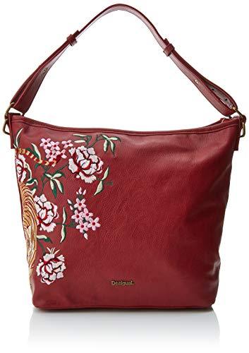 Desigual - Bols_rosso Astun, Shoppers y bolsos de hombro Mujer, Rojo (Carmin), 12x27x25 cm (B x H T)