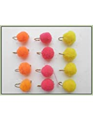 12huevos Pesca de la trucha vuela Color Rosa Naranja y amarillo