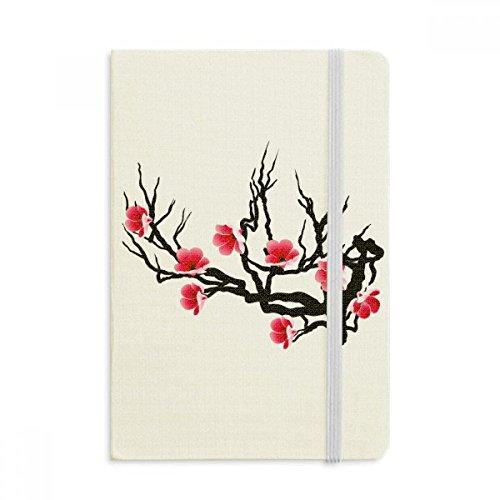 DIYthinker Giappone Cultura Rosso Nero Sakura modello Taccuino Tessuto Copertina rigida Diario della rivista classica A5 A5 (144 x 210mm) Multicolore