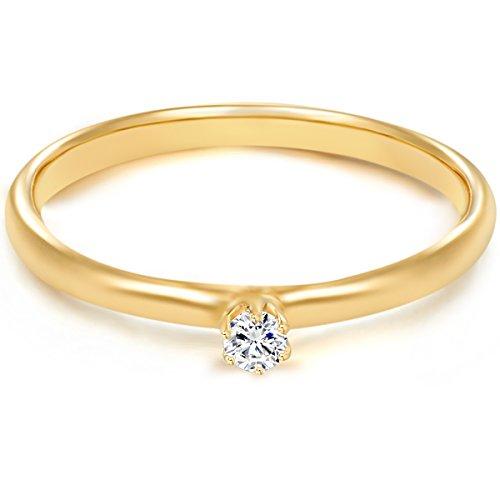 Tresor 1934 Bague femme / Bague de fiançailles / Solitaire Argent Sterling 925/1000 doré or jaune Oxyde de zirconium blanc T. 52 60451007