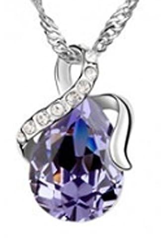 SaySure - 18K Platinum Plated Crystal Korea Water Drop Necklaces