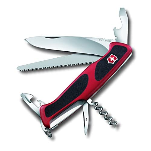 41a5PkF5szL. SS500  - Victorinox 0.9563.C Ranger Grip 55 Knife, Red/Black, Large