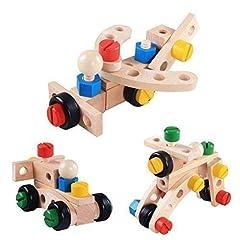 Idea Regalo - Costruzioni Giocattolo kit set legno Giochi fai da te attrezzi Colorati blocchi accessori scatola creativo. Bambini Educativo prescolare mattoncini avvita montare noci e bulloni cacciaviti set 3 anni