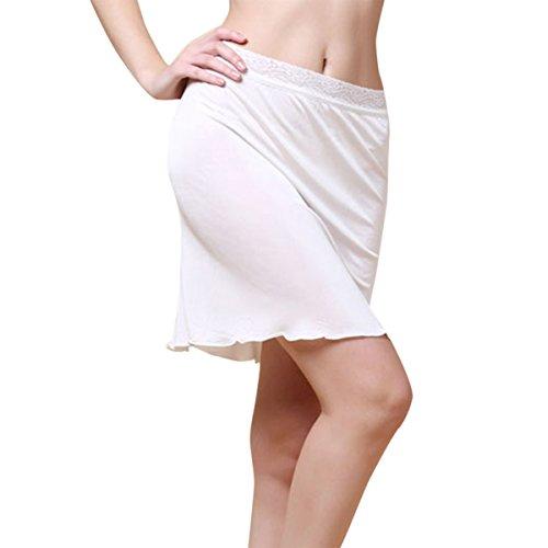 Sue&Joe Damen Unterrock, Einfarbig Gr. Etikettengröße M=UK S, weiß (Slip Stretch-satin)