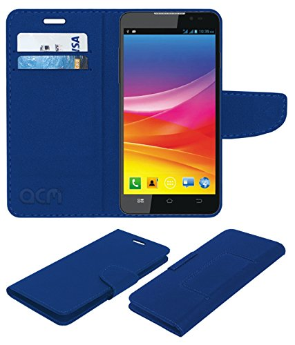 ACM Leather Flip Wallet Case for Micromax Canvas Nitro 2 E311 Mobile Cover Blue