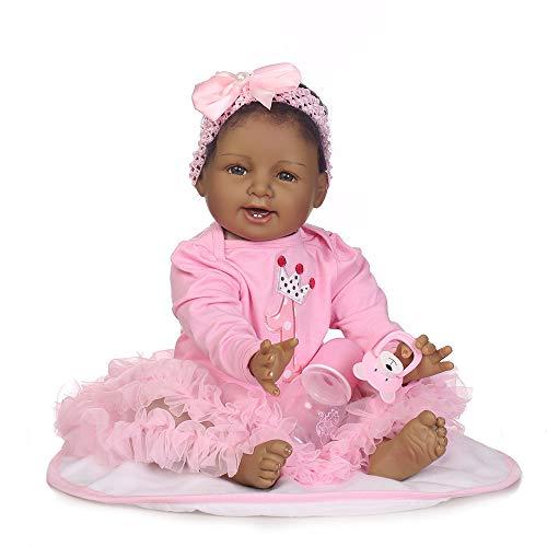 kingko Enfants Enfants Jouets Doux Silicone Réaliste Poupée Noir Bébés Reborn Poupées avec des Vêtements pour Filles Playmates Nouveau-Né Bébé Cadeau pour Fille (Multicolor)