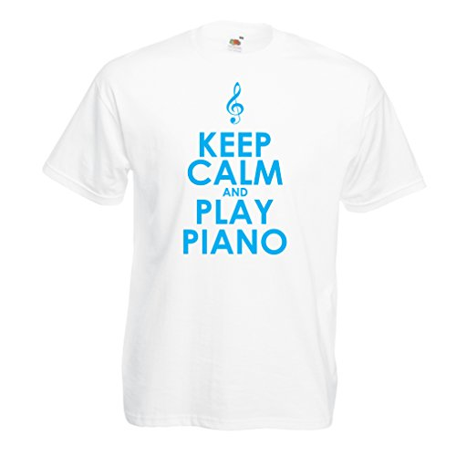 lepni.me Männer T-Shirt Klavier - Musiker zitiert (X-Large Weiß Blau)