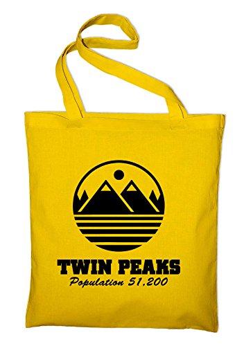 Twin Peaks welcome Jutebeutel, Beutel, Stoffbeutel, Baumwolltasche Gelb