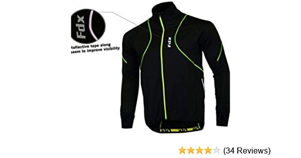 7a882926a FDX Mens Performance Cycling Jacket Wind stopper Thermal Winter Running Hi  viz  Amazon.co.uk  Sports   Outdoors