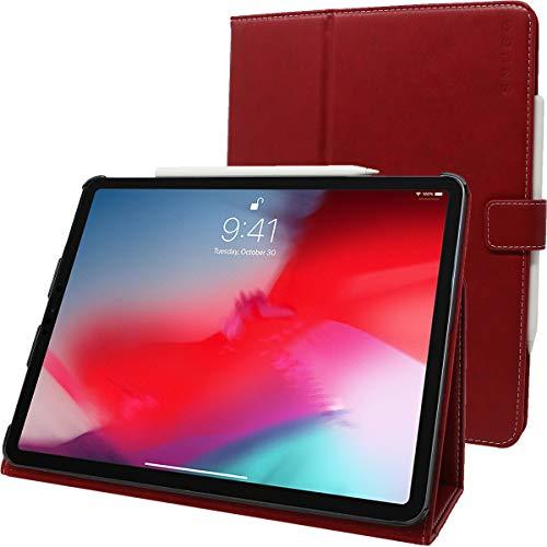 Snugg iPad Pro 11Hülle, Leder iPad Pro 11 2018 Schutz Klapphülle Case Cover Ständer für Apple iPad Pro 11 2018 (Funktioniert mit Apple Pencil) Staubige Zeder Rot